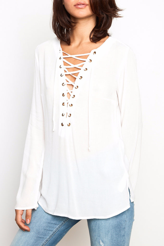 CREPE LACE-UP FLARED SLEEVE TOP