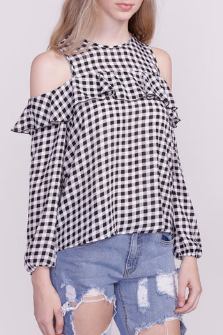 GINGHAM OFF THE SHOULDER CROPPED TOP