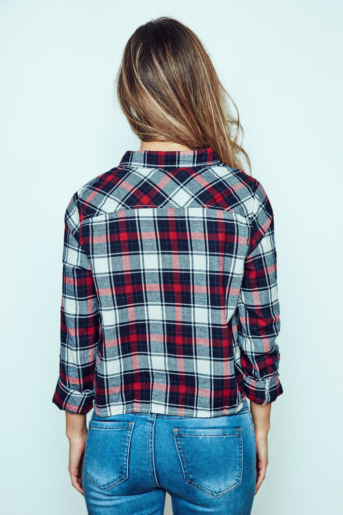 PLAID BUTTON-DOWN SKIMMER - $12.99 PROMO