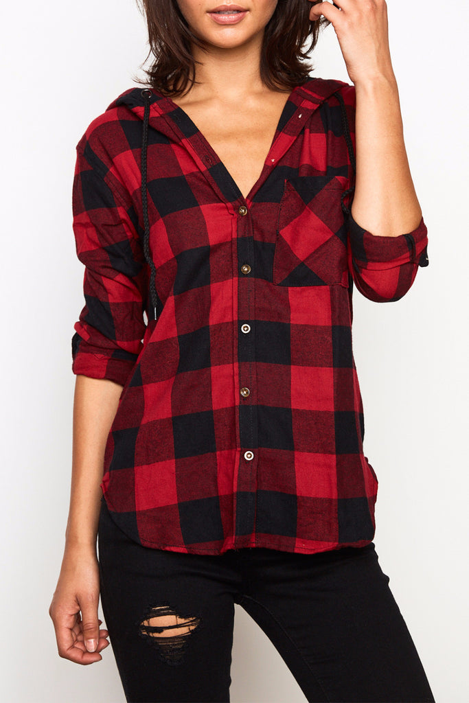 PLAID RELAXED FIT HOODED BUTTON-DOWN SHIRT - $12.99 PROMO
