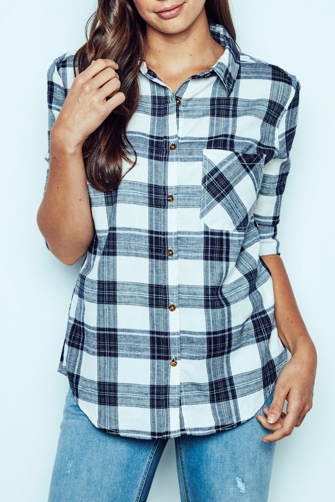 BOYFRIEND FIT PLAID BUTTON-DOWN SHIRT - STYLE STEALS ITEM
