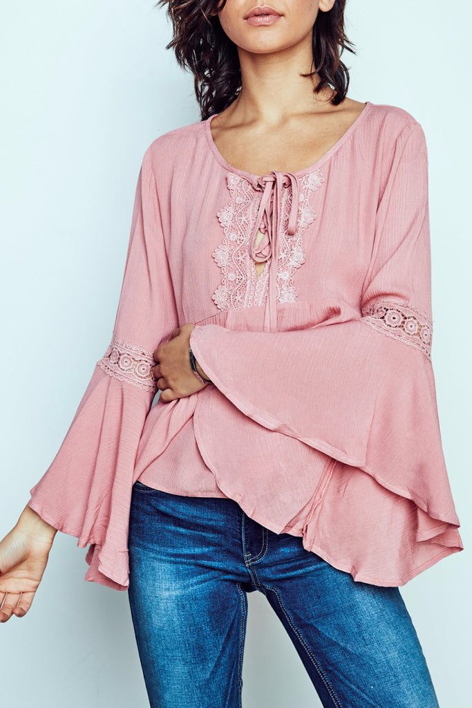 BELL SLEEVE LACE-UP PEASANT BLOUSE