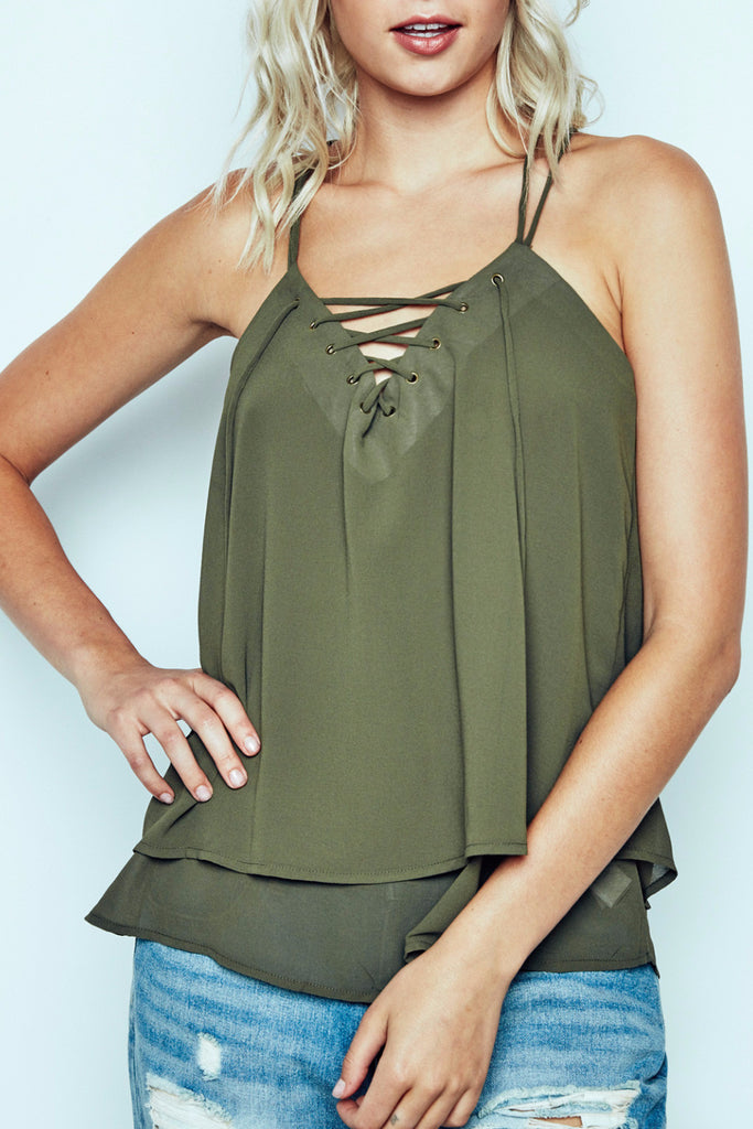 GEORGETTE LACE-UP CAMI
