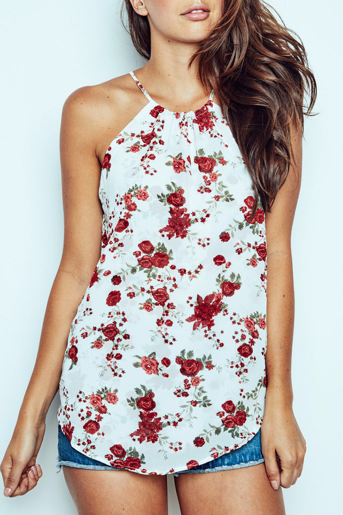 FLORAL HALTER SWING TANK - PROMO 60% OFF