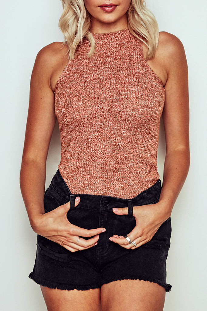 RIBBED KNIT HALTER TANK - PROMO 50% OFF