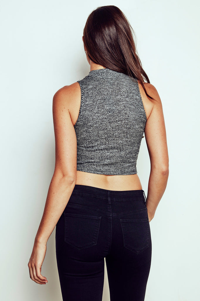 RIBBED KNIT CHOKER CROP TOP - PROMO 50% OFF