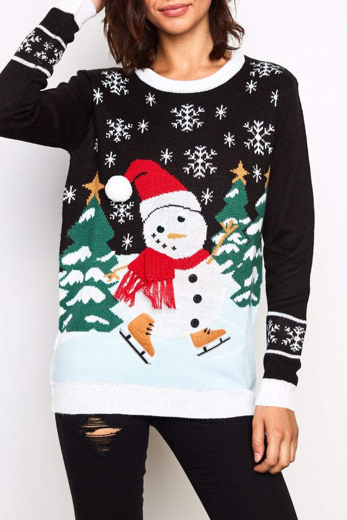 SNOWMAN GRAPHIC KNIT SWEATER - HOLIDAY