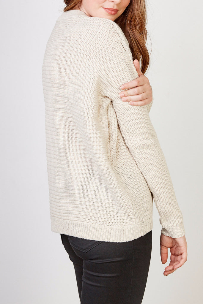 LACE-UP RIBBED KNIT SWEATER