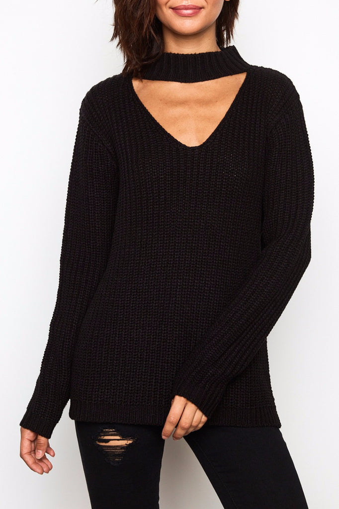 SIDE SLIT CHOKER SWEATER