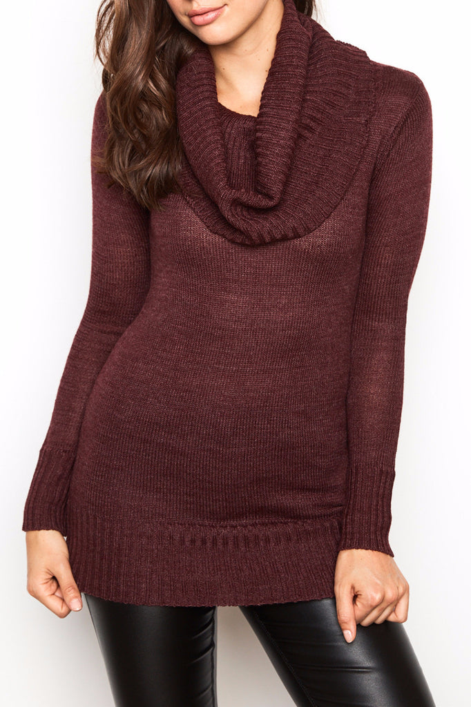 LONGLINE COWL NECK SWEATER