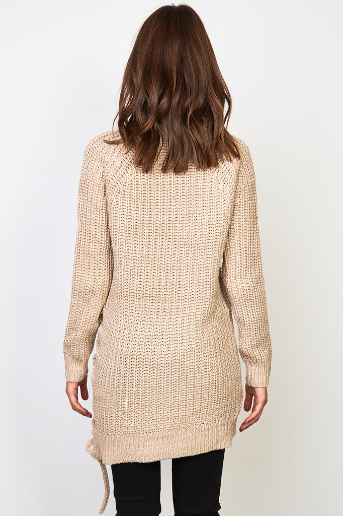 LONGLINE RIBBED KNIT LACE-UP SWEATER