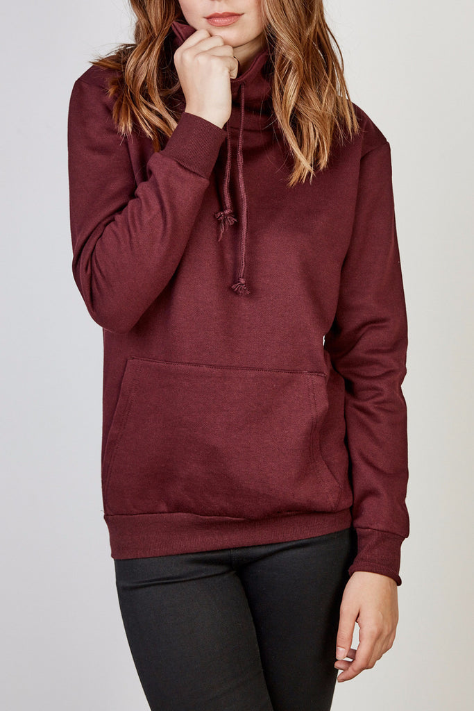 COWL NECK POCKET SWEATSHIRT
