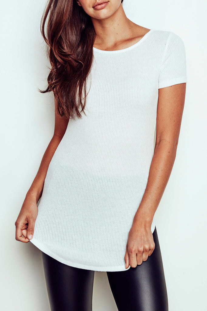 RIBBED KNIT LONGLINE TEE - PROMO 60% OFF