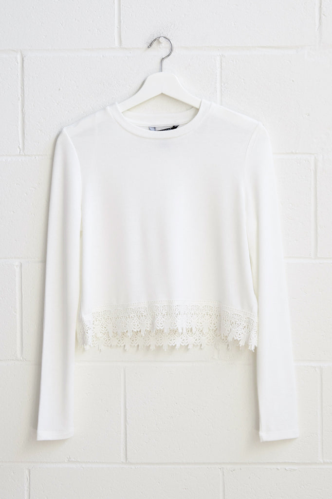 CROCHET TRIM CROPPED SWEATER