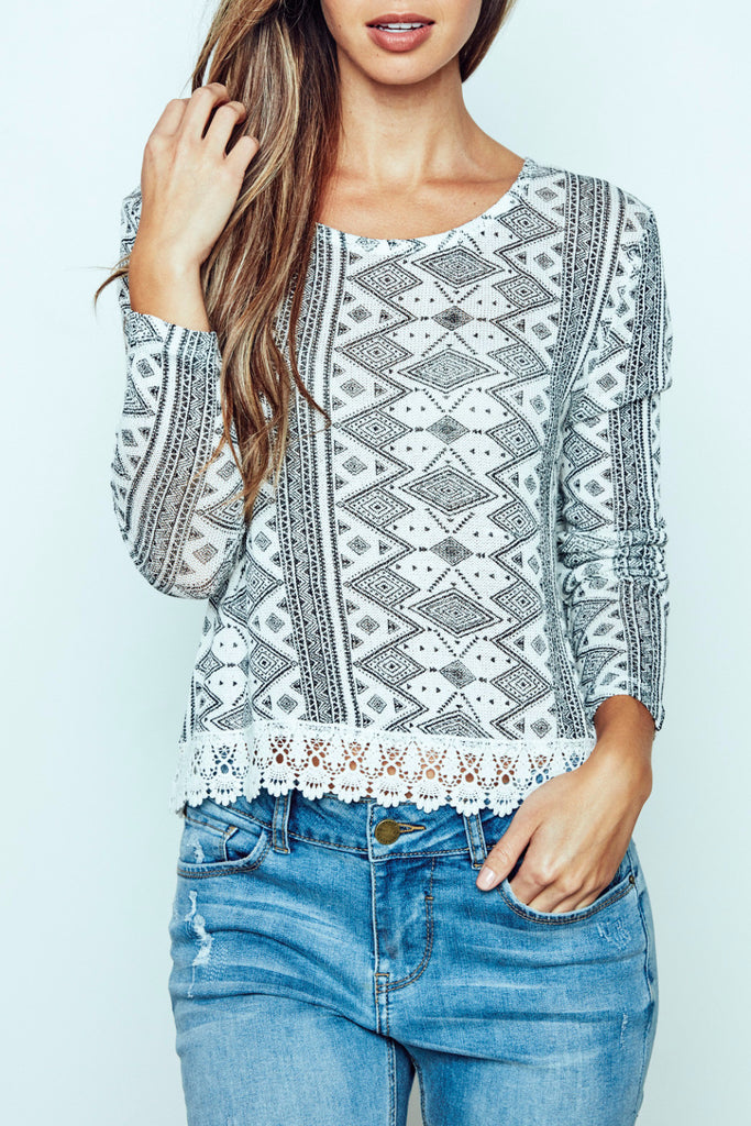 TRIBAL PRINT CROCHET TRIM TOP - PROMO 60% OFF