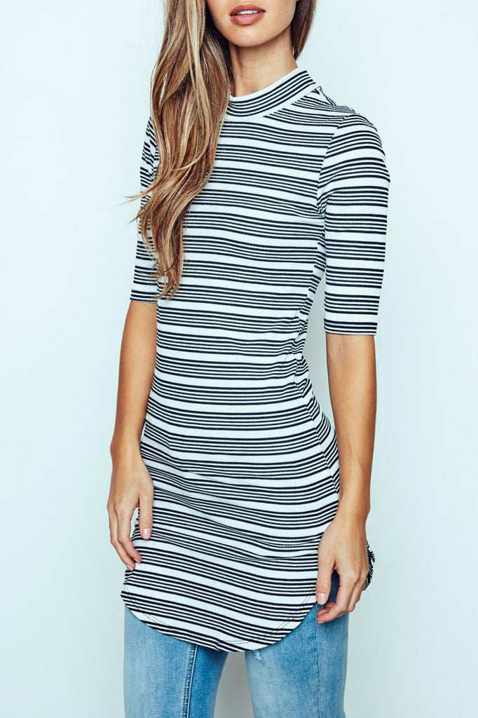 STRIPED MOCK NECK TUNIC