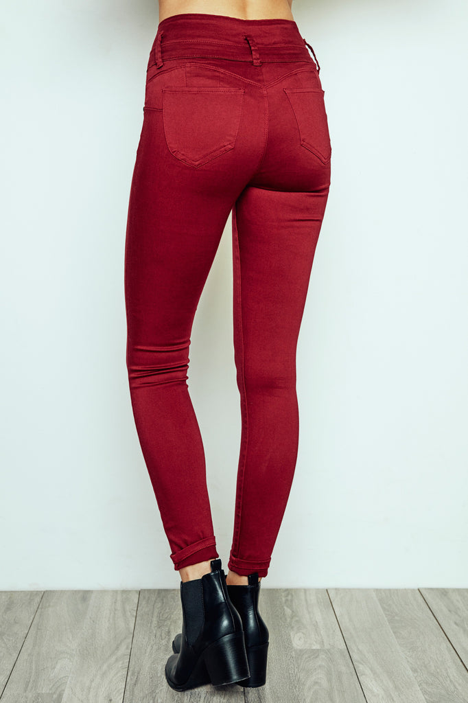 BURGUNDY IBIZA HIGH RISE BETTER BOOTY SKINNY JEAN