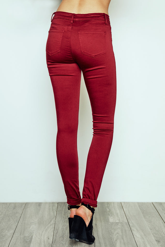 BURGUNDY MIAMI HIGH RISE SUPER SKINNY JEAN - STYLE STEALS ITEM