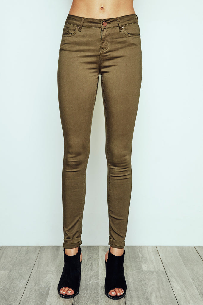 DARK GREEN MIAMI HIGH RISE SUPER SKINNY JEAN - STYLE STEALS ITEM