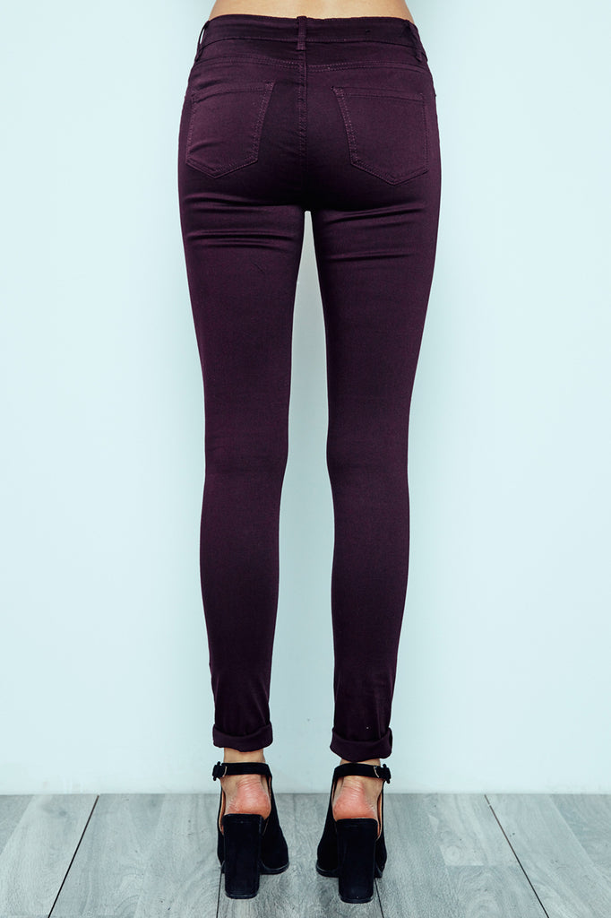 PLUM KNEE SLIT MIAMI HIGH RISE SUPER SKINNY JEAN - STYLE STEALS ITEM