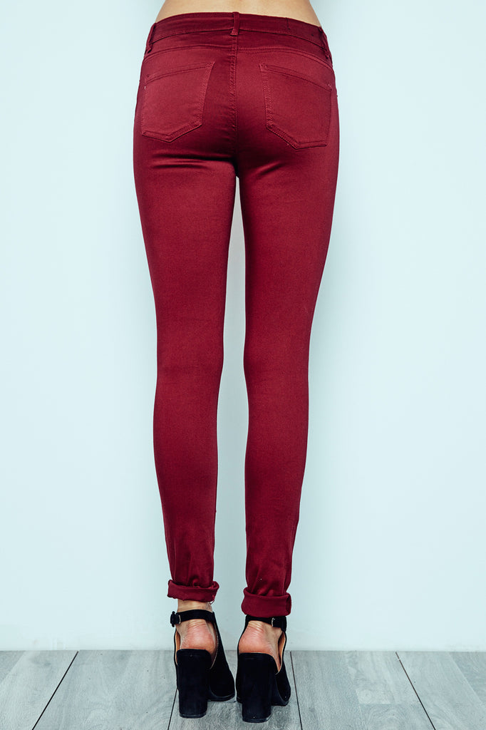 BURGUNDY KNEE SLIT MIAMI HIGH RISE SUPER SKINNY JEAN - STYLE STEALS ITEM