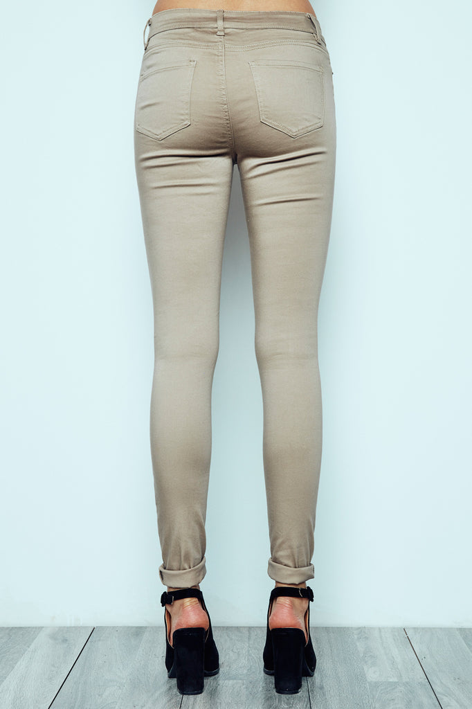 TAN KNEE SLIT MIAMI HIGH RISE SUPER SKINNY JEAN - STYLE STEALS ITEM