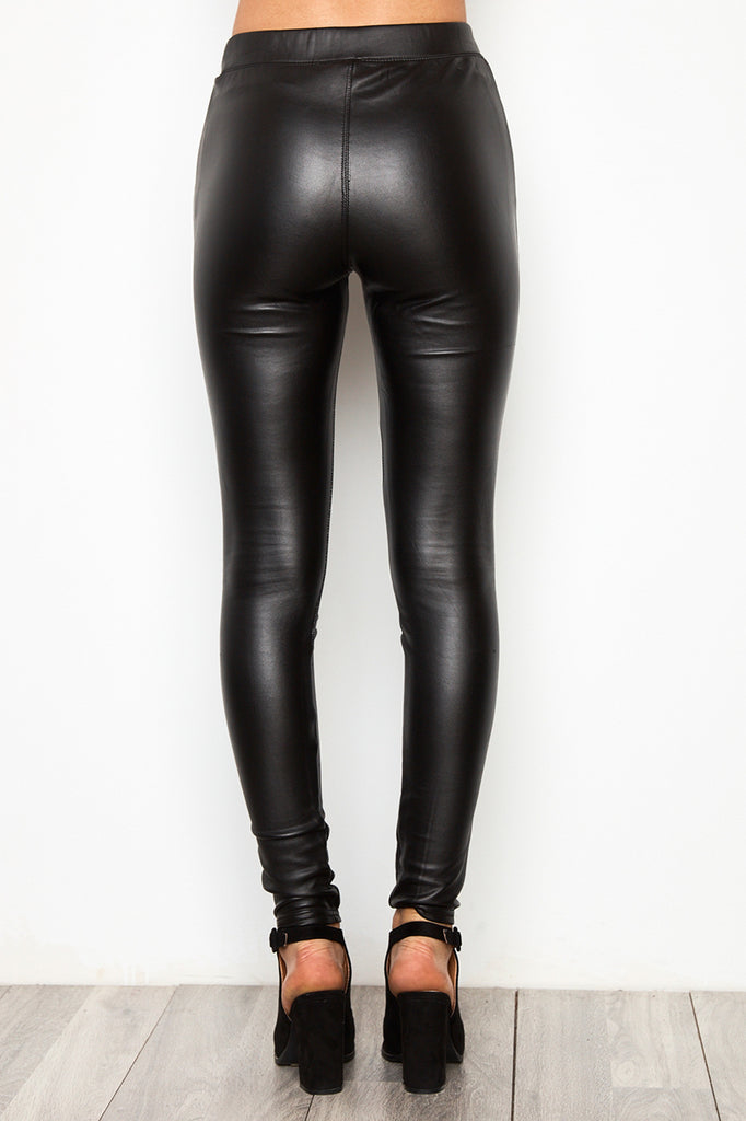 FAUX LEATHER HIGH RISE LEGGING
