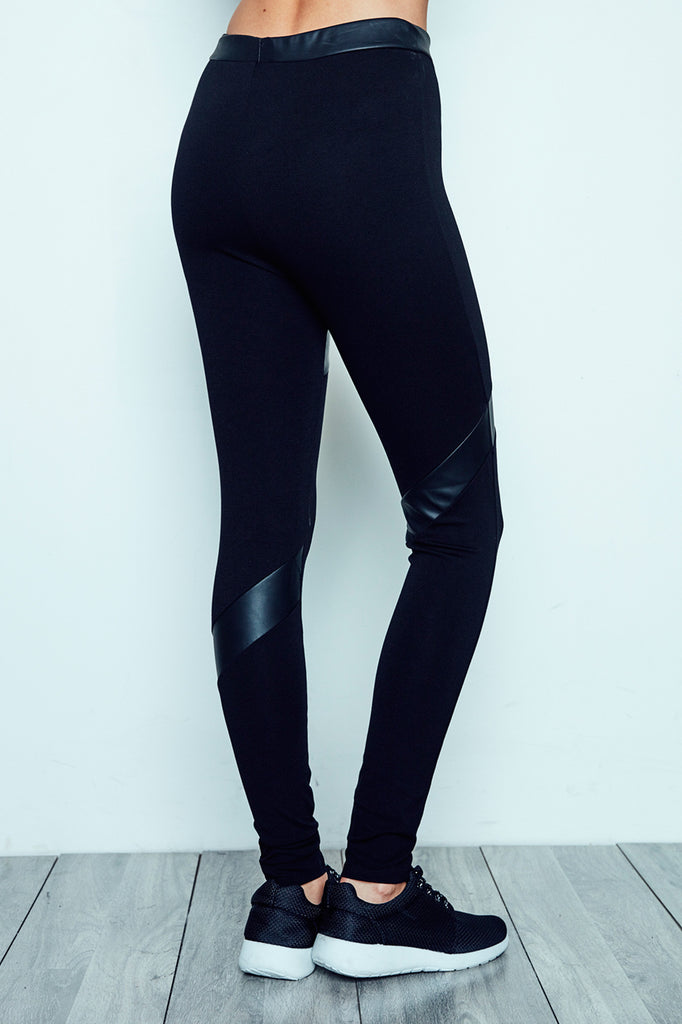 FAUX LEATHER PANELLED LEGGING - PROMO 60% OFF