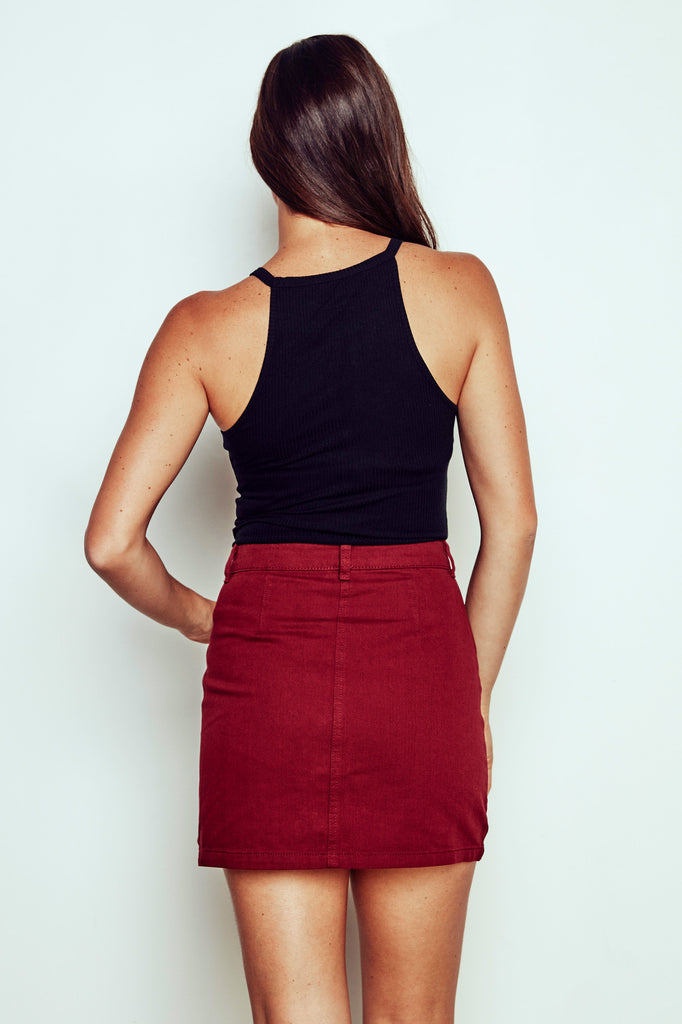 BUTTON-DOWN DENIM MINI SKIRT - PROMO 50% OFF
