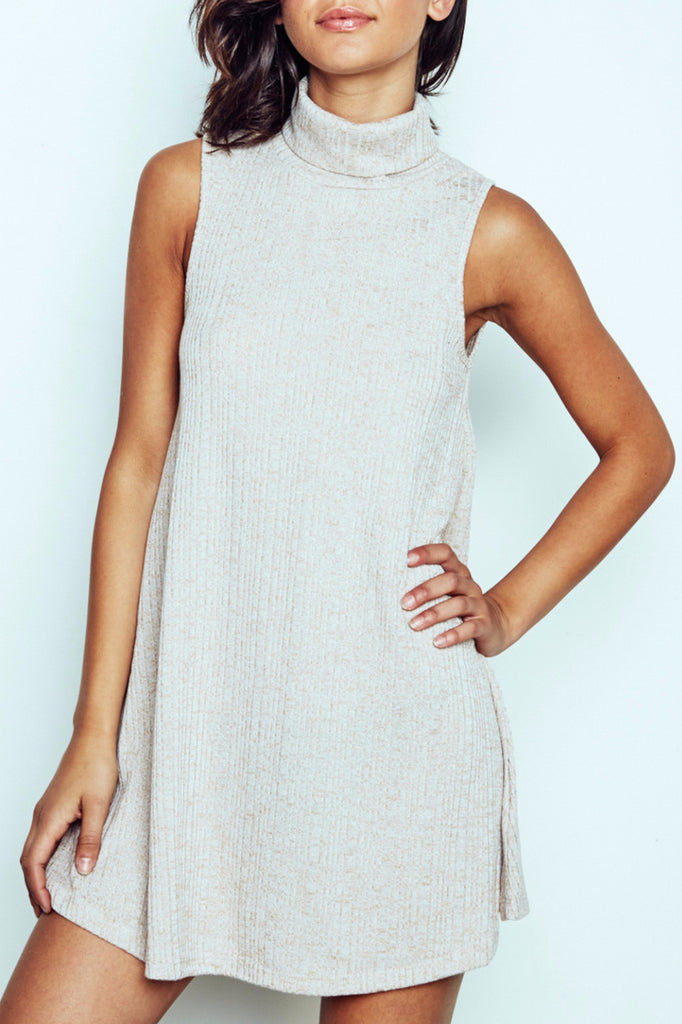 RIBBED KNIT COWL NECK SWING DRESS - PROMO 60% OFF