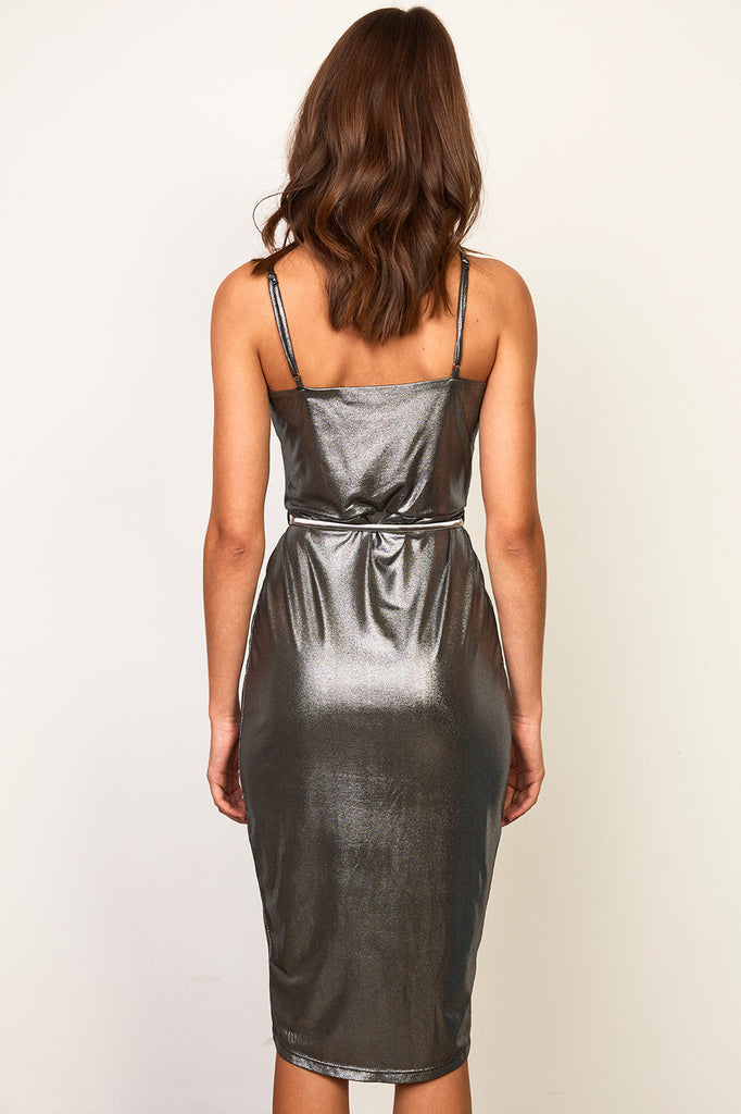 METALLIC WRAP FRONT BELTED DRESS