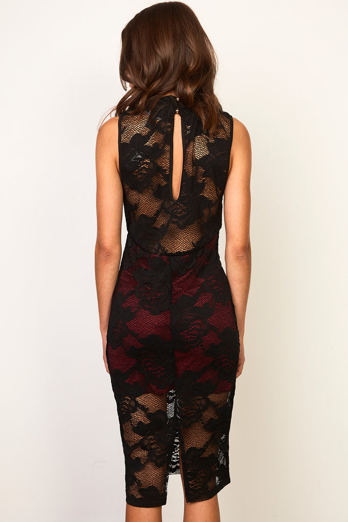 LACE OVERLAY KEYHOLE MIDI DRESS