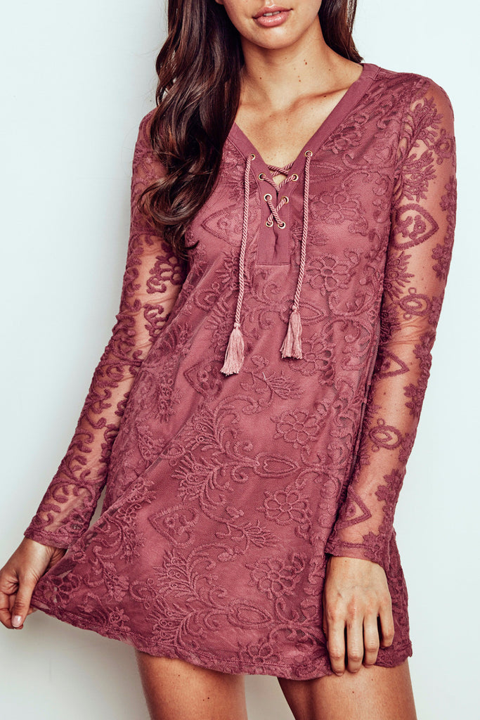 LACE SLEEVE LACE-UP SWING DRESS - PROMO 60% OFF