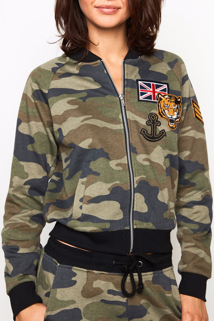 CAMO PRINT ZIP-UP BOMBER JACKET - SALE
