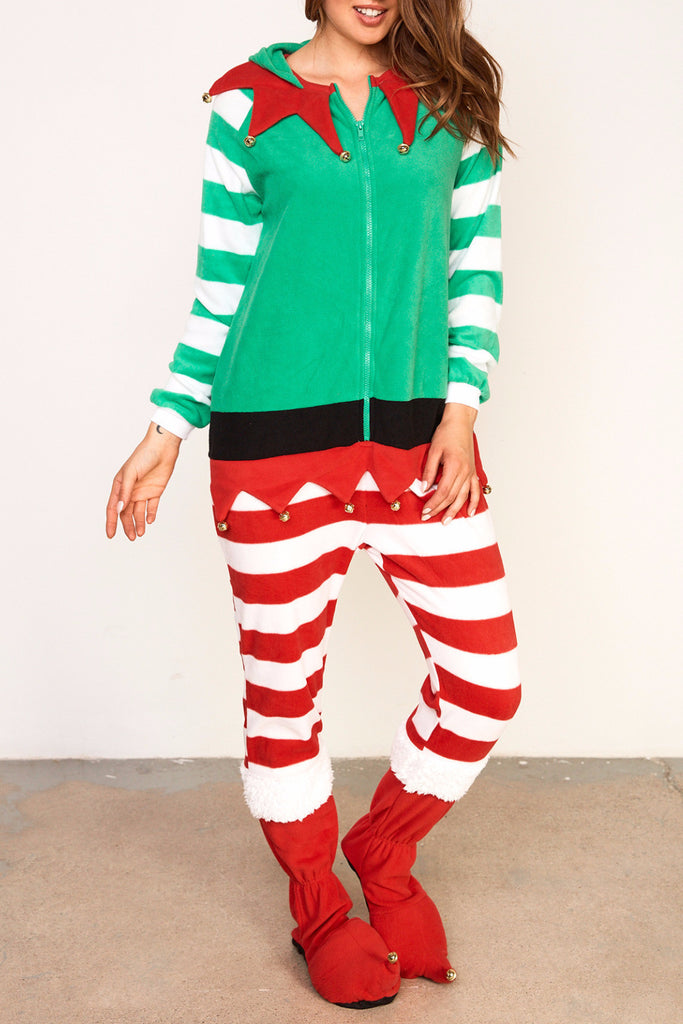 ELF FLEECE ZIP-UP ONESIE - HOLIDAY