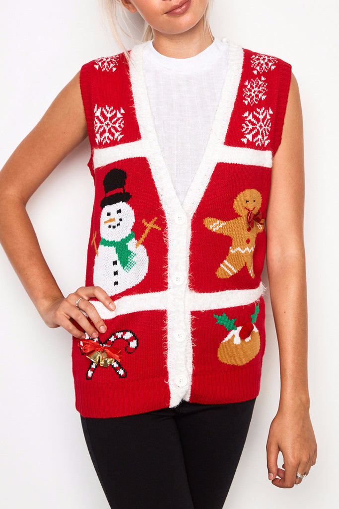 CHRISTMAS PRINT BUTTON-DOWN SWEATER VEST - HOLIDAY