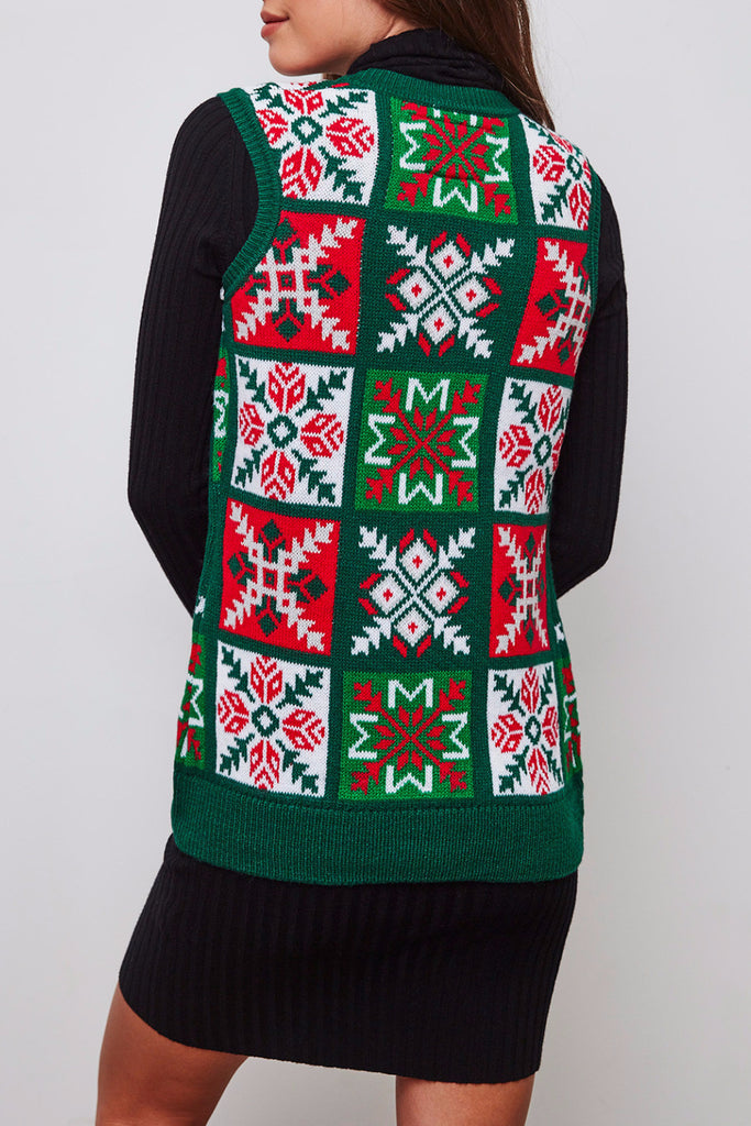 FAIR ISLE PRINT KNIT VEST - HOLIDAY