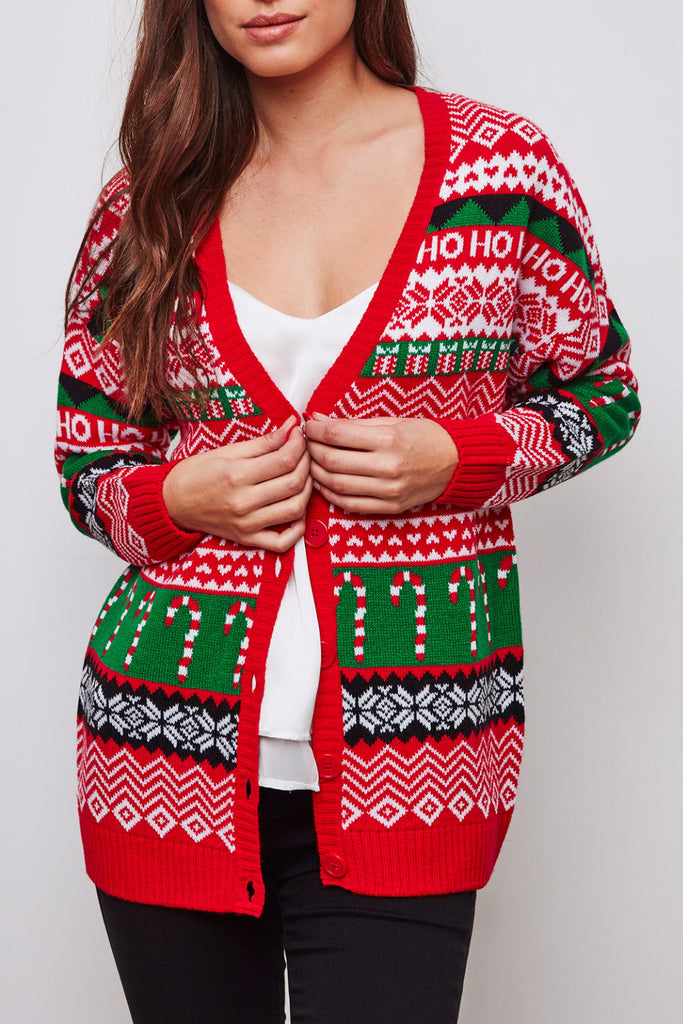 HOLIDAY BUTTON-DOWN KNIT CARDIGAN - HOLIDAY