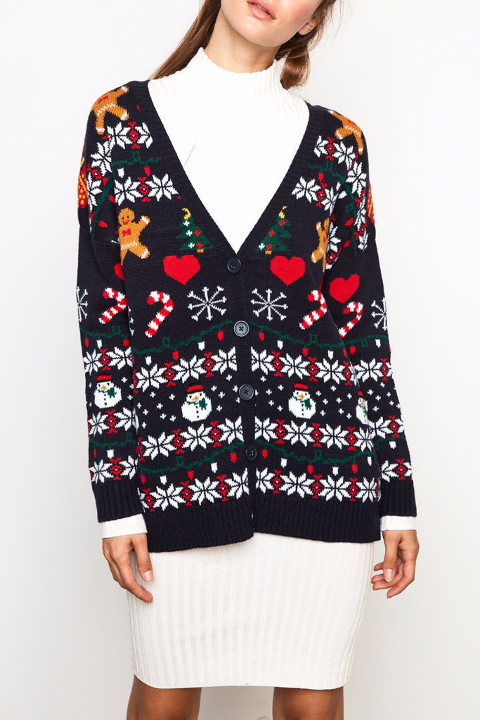 CHRISTMAS PRINT BUTTON-DOWN SWEATER - HOLIDAY