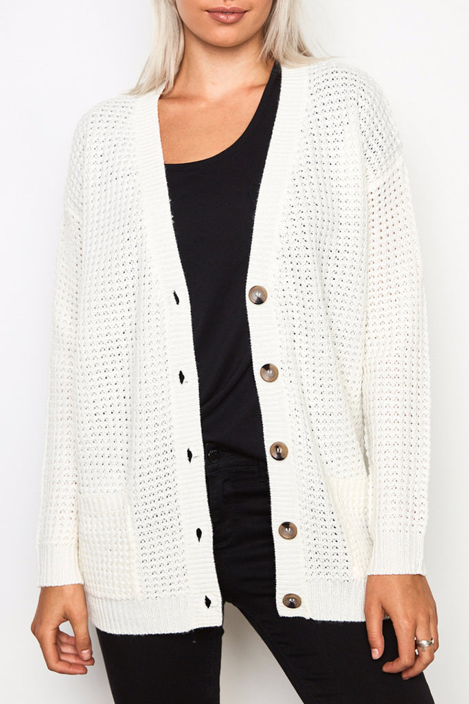 KNIT BUTTON-DOWN POCKET CARDIGAN