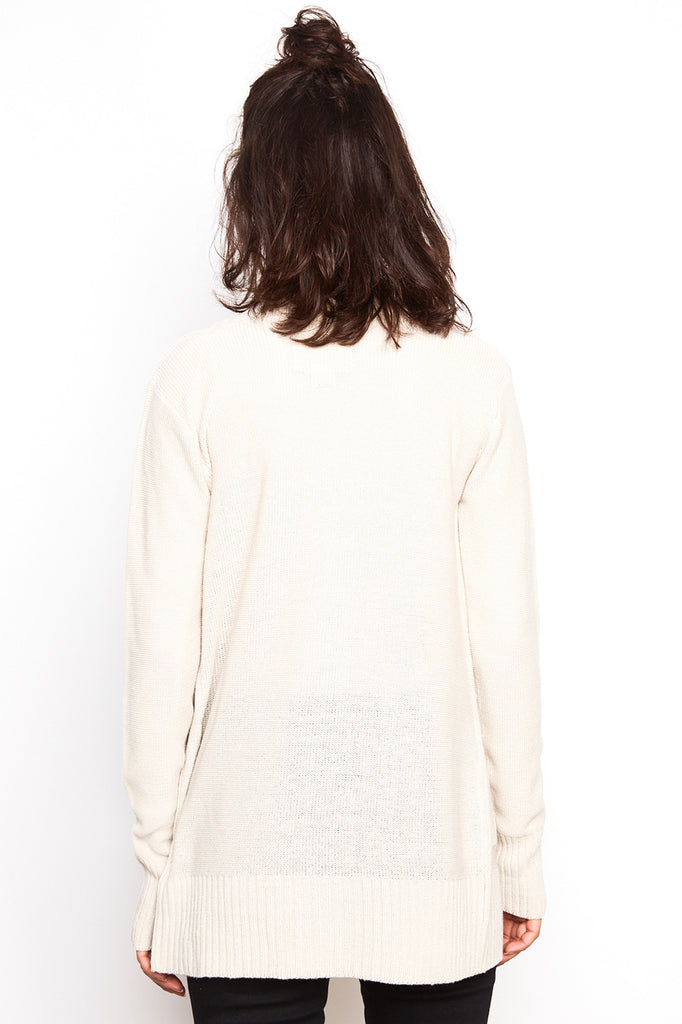 RIBBED KNIT OPEN FRONT CARDIGAN