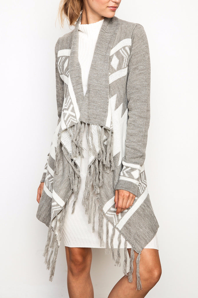 AZTEC WATERFALL FRINGE CARDIGAN