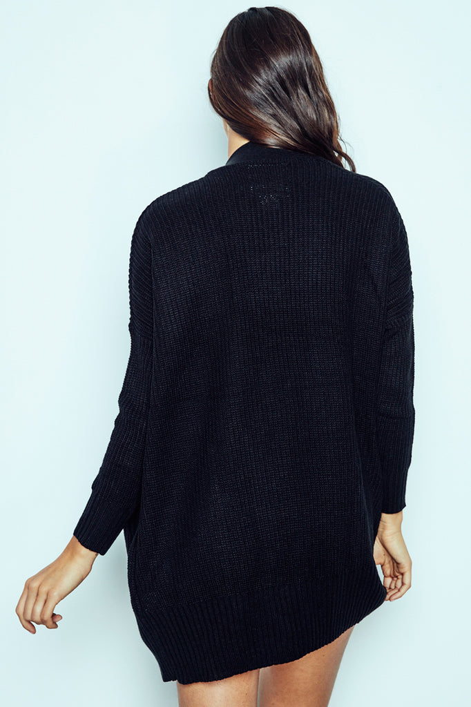 RIBBED KNIT POCKET CARDIGAN