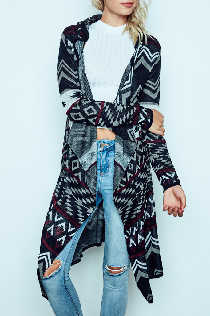 TRIBAL PRINT FLYAWAY HOODED DUSTER CARDIGAN