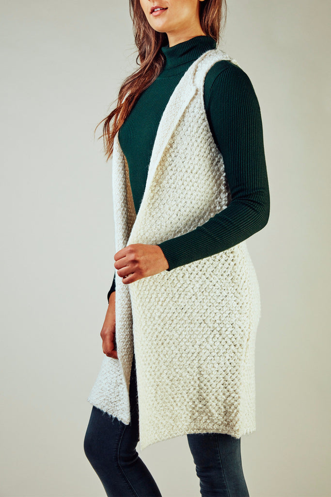 SLEEVELESS KNIT OPEN FRONT CARDIGAN