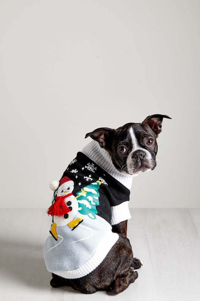 SNOWMAN GRAPHIC KNIT PET SWEATER - HOLIDAY