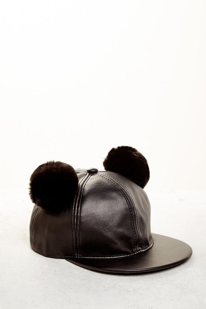 FAUX LEATHER DOUBLE POM HAT