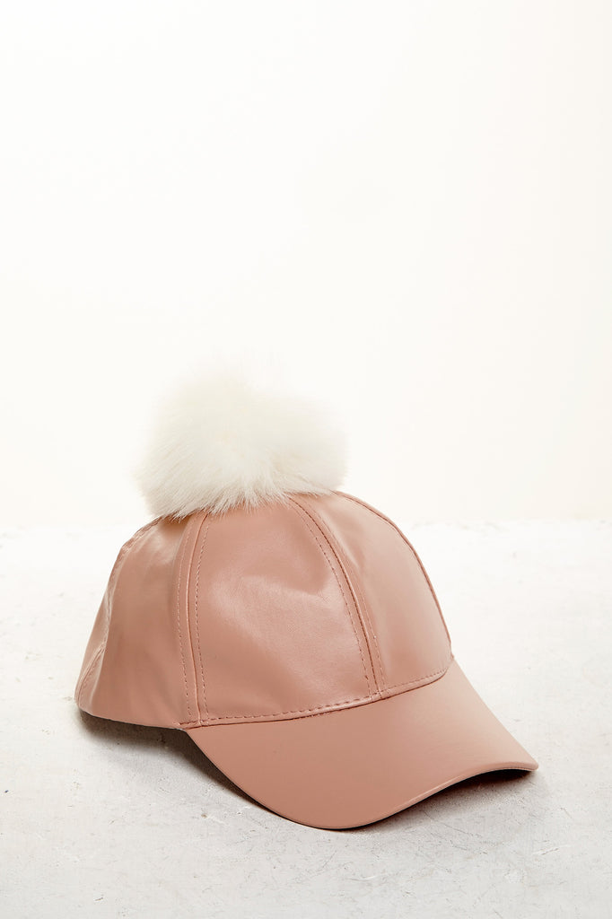 FAUX LEATHER POM HAT