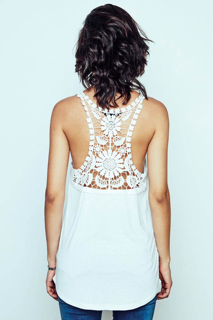 GRAPHIC LACE RACERBACK TANK - PROMO 60% OFF