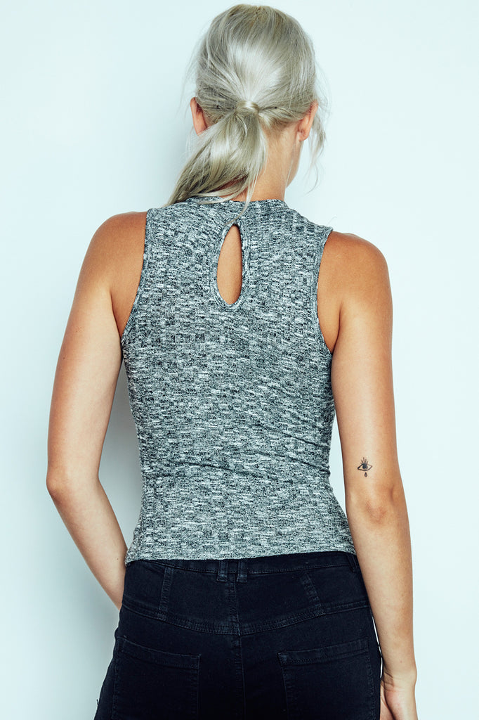 MARLED RIBBED KNIT TANK TOP - REDLINE